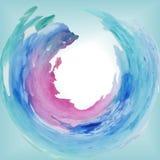 A aquarela redonda do quadro mancha o mar Imagens de Stock