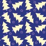 Aquarela sem emenda do teste padrão com os abeto amarelos e violetas e as estrelas violetas no fundo azul ilustração do vetor