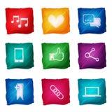 Aquarela social dos ícones dos meios Foto de Stock Royalty Free
