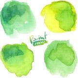 A aquarela verde pintou manchas do vetor ajustadas Fotografia de Stock