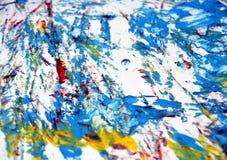 Aquarela vermelha azul do ouro branco que pinta o fundo brilhante abstrato, acrílico da aquarela que pinta o fundo abstrato imagens de stock