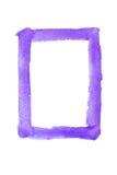 Aquarela violeta pintada quadro no fundo branco imagens de stock