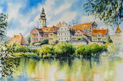 Aquarelas da cidade de Frohnleiten pintadas Imagens de Stock Royalty Free