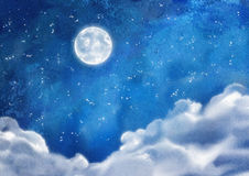 Aquarell-allabendlich Wolken lizenzfreie abbildung