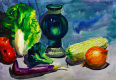 Aquarell-Anstrich - Gemüse Stockbilder