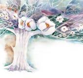 Aquarell - Apple-Garten Lizenzfreie Stockfotos