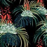 Aquarell-Artentwurf des nahtlosen Mustervektors Blumen: saftig in der Blüte mit orange Blumen und Palme monstera Blättern lizenzfreie abbildung