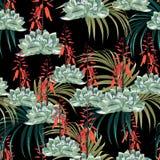 Aquarell-Artentwurf des nahtlosen Mustervektors Blumen: saftig in der Blüte mit orange Blumen und Palmen lizenzfreie abbildung