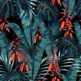 Aquarell-Artentwurf des nahtlosen Mustervektors Blumen: saftig in der Blüte mit orange Blumen und Palmen- und Bananenblättern vektor abbildung