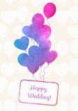 Aquarell Ballonskarte mit nahtlosem Muster von den Ballonen Festlicher Hintergrund der Feier Lizenzfreie Stockbilder