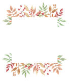 Aquarell-Beeren Autumn Frame Wreath Leaf Fall Lizenzfreie Stockbilder