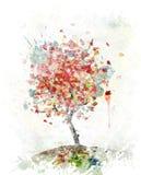 Aquarell-Bild von Autumn Tree stock abbildung
