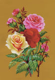 Aquarell blüht in der klassischen Art auf einem weißen Hintergrund Lizenzfreies Stockbild