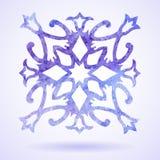 Aquarell-Blau gemalte Weihnachtsschneeflocke Stockbild