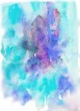 Aquarell-blauer und purpurroter Hintergrund lizenzfreie abbildung