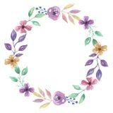 Aquarell-Blume handgemalter Garland Floral Wreath lizenzfreie abbildung