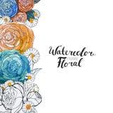 Aquarell-Blumen-Grenze Stockbild