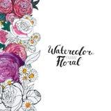 Aquarell-Blumen-Grenze Stockfoto