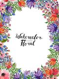 Aquarell-Blumen-Grenze Stockbilder