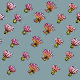 Aquarell-Blumen-Muster, blauer Hintergrund Stock Abbildung