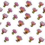 Aquarell-Blumen-Muster, weißer Hintergrund Lizenzfreie Abbildung