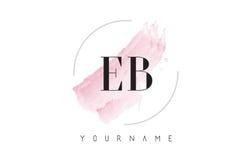 Aquarell-Buchstabe Logo Design EB E B mit Rundbürste-Muster Stockfotos