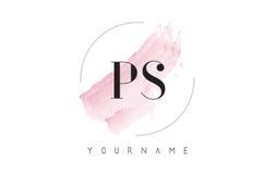 Aquarell-Buchstabe Logo Design PS P S mit Rundbürste-Muster Stockbilder