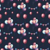 Aquarell-bunte Luft-Ballone und Partei-Girlanden nahtloses Pat vektor abbildung