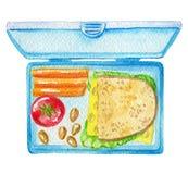 Aquarell chool Frühstück in einem blauen Behälter Stockfotografie