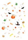 Aquarell, das Halloween-Muster malt Lizenzfreie Stockfotos