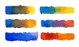 Aquarell, das Linien ausdehnt Überseeische Dehnungsstreifen, rot, gelb lizenzfreie stockfotografie