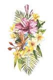 Aquarell, das tropischen Blumenstrauß mit exotischen Blumen malt ENV 10 Stockbild