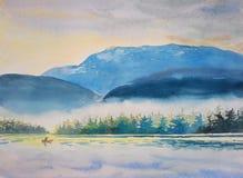Aquarell, das ursprüngliche Landschaft bunt vom Bootfahrtmorgen malt
