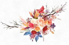 Aquarell-Datums-Karten oder Hochzeits-Design schöne Rose Flowers For Save The Lizenzfreie Stockbilder