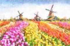 Aquarell der Kanal in Landschaft Zaanse Schans mit Tulpen-traditionellen niederländischen Windmühlen und Häusern nahe Stockbilder