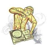 Aquarell DJ kämpfen lizenzfreie abbildung