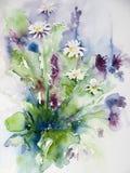 Aquarell eines Bündels wilder Blumen stock abbildung