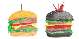 Aquarell eingestellt mit einem Hamburger, Cheeseburger, Tomaten, Zwiebeln, Kotelett, Salat lizenzfreie abbildung