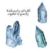 Aquarell eingestellt mit Kristall des Quarzes Stellten blaue Edelsteinsteine des Aquarells lokalisiert auf weißem Hintergrund ein stock abbildung