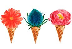 Aquarell-Eiscreme mit 3 Blumen vektor abbildung
