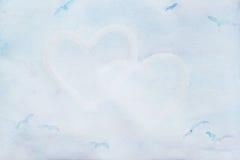 Aquarell empfindlich, blau, Herzen Abstrakter Liebes-Hintergrund Konzept ungefähr und Verhältnis, Platz für Ihren Text stockfoto