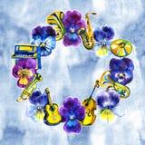 Aquarell führte Stiefmütterchenblumen und Musikinstrumente mit Anmerkungen in der klassischen Art für Design einzeln auf Lizenzfreie Stockbilder