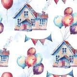 Aquarell-Fantasie-Haus und bunte Luft-Ballone nahtloser Patt stock abbildung
