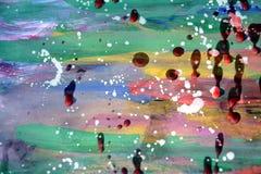 Aquarell, Farbe und rote wächserne Stellen auf Pastellhintergrund Lizenzfreie Stockfotografie