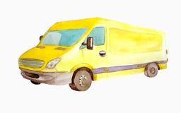 Aquarell gelber van truck mit den grauen Rädern lokalisiert auf weißem Hintergrund für Postkarten, Geschäft und children' s- stockfoto