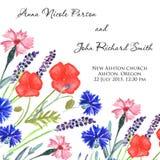 Aquarell gemalte Heiratseinladung Kornblume-, Lavendel-, Edelwicke- und Mohnblumenblumenmuster Lizenzfreie Stockbilder