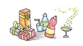 Aquarell gemalte Partei Lizenzfreies Stockfoto
