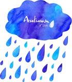 Aquarell gemalter Herbstregen mit Wolke Stockbild