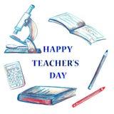 Aquarell-glücklicher Lehrer ` s Tageshintergrund Stockfoto