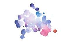 Aquarell, Gouachefarbe Blaue abstrakte Flecke plätschern spritzt mit rauer Beschaffenheit stockfoto